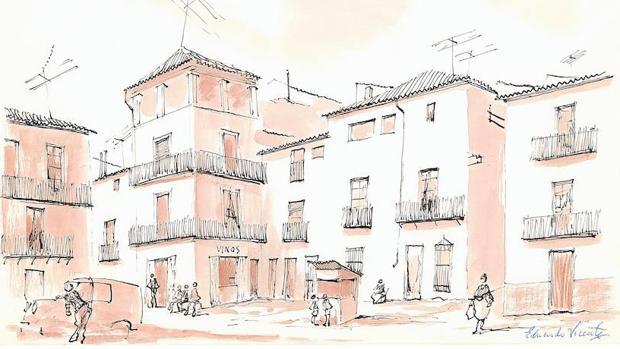«Provincia de Madrid. Los pueblos, vistos por Eduardo Vicente. Perales de Tajuña», dibujo publicado en ABC en 1968