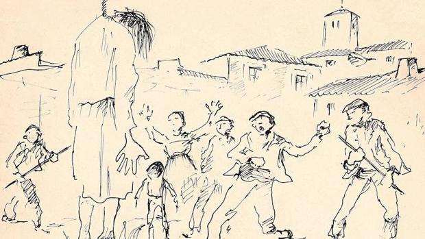 Dibujo de Eduardo Vicente en tinta sobre cartulina, sin fecha