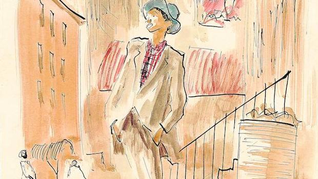 """Dibujo de la serie «América con mis ojos, V. En Nueva Orleans ya no hay un tranvía que se llama """"Deseo""""», publicada en «Blanco y Negro» en 1965"""