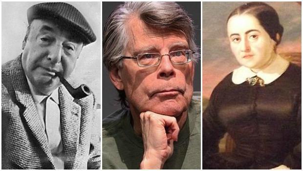 De izquierda a derecha: Pablo Neruda, Stephen King y Fernán Caballero