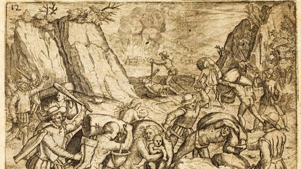 Grabado de la «Brevísima relación de la destrucción de las Indias», de Bartolomé de las Casas (Sebastian Trugillo, 1552)