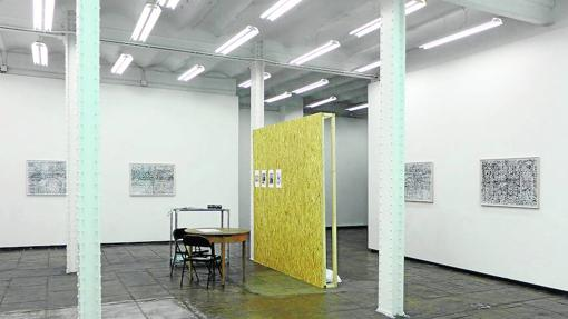 Una vista del montaje de la exposición de Patricia Esquivias