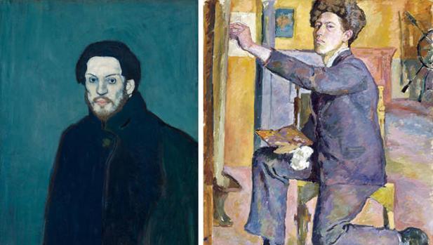 Autorretratos de Picasso (1901) y de Giacometti (1921)