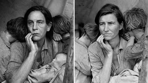 John Malkovich transfigurado por Sandro Miller en la mujer inmigrante fotografiada por Dorothea Lange