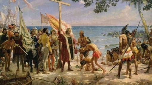 La idealizada llegada de Colón en el cuadro del Museo Naval