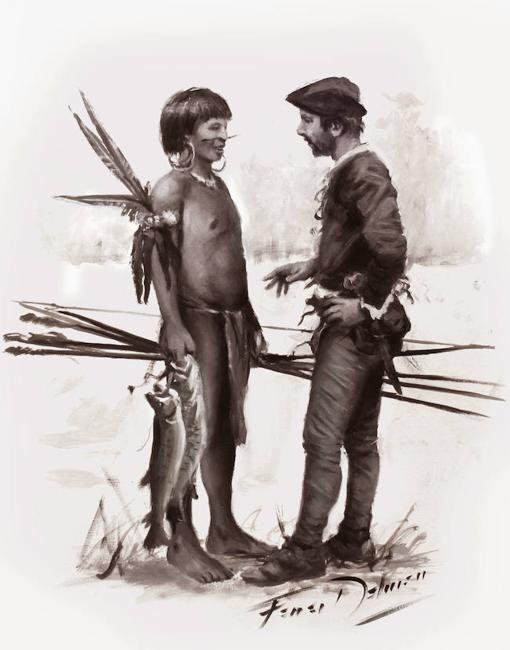 Augusto Ferrer-Dalmau ha visto así la inmersión de Cristóbal Rodríguez el «lengua» entre los taínos (boceto inédito, con la asesoría histórica de David Nievas)