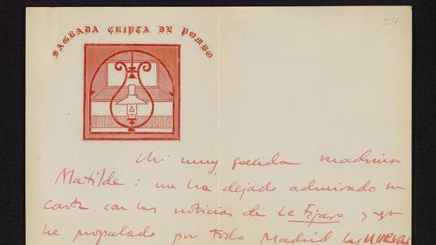 Detalle de la carta remitida a Pomés por Gómez de la Serna en 1929, que forma parte de la muestra de la Biblioteca Nacional