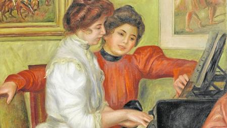 «Yvonne y Christine Lerolle sentadas al piano» (1897)