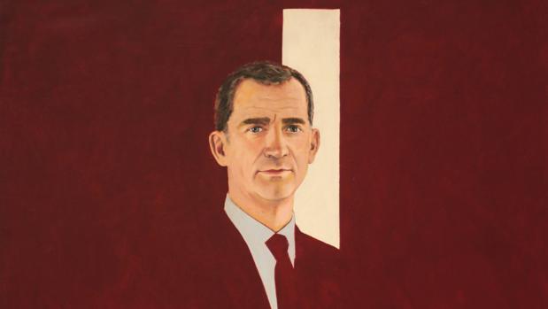 Retrato de Felipe VI realizado por Rafael Canogar . Detalle