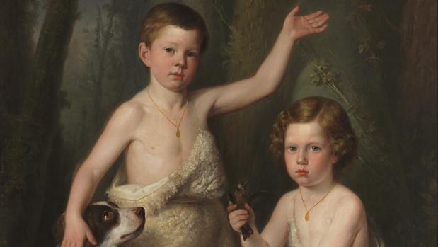 «Raimundo Roberto y Fernando José, hijos de la Infanta Josefa Fernanda de Borbón», de Antonio María Esquivel. Detalle