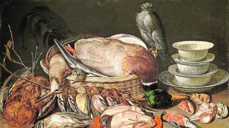 «Bodegon con gavilán, aves, porcelana y conchas» (1611)