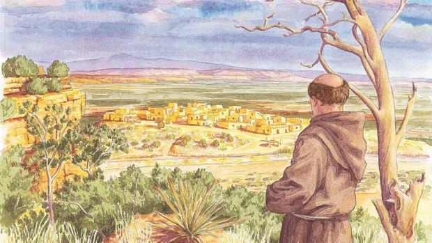 El franciscano Marcos de Niza, creyendo ver una ciudad dorada