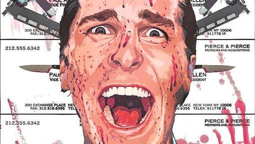 Patrick Bateman, encarnado por Christian Bale, en el cartel de la versión cinematográfica