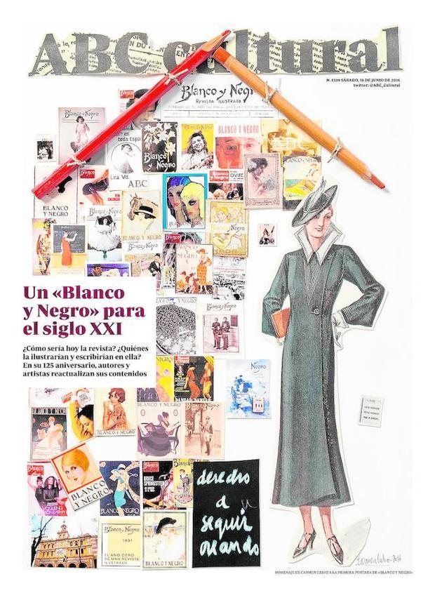 Carmen Calvo se hizo cargo de la portada para el 125 aniversario de «Blanco y Negro» (18 de junio de 2016)