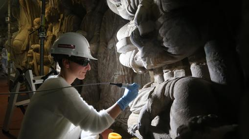 Una miembro del equipo trabaja con un microaspirador