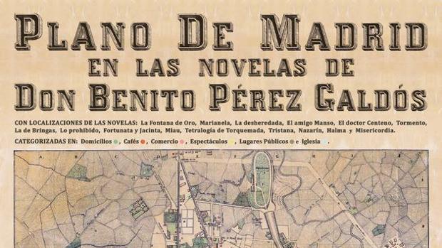 Detalle del mapa del Madrid de Galdós, editado por Aventuras Literarias