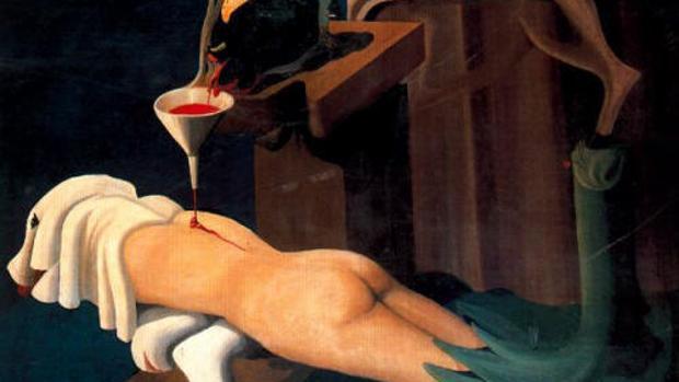 Fragmento de «La máquina de coser electrosexual» (1934), el lienzo más conocido de Óscar Domínguez