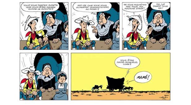Una de las viñetas del cómic-homenaje a los setenta años de la creación del personaje por Morris