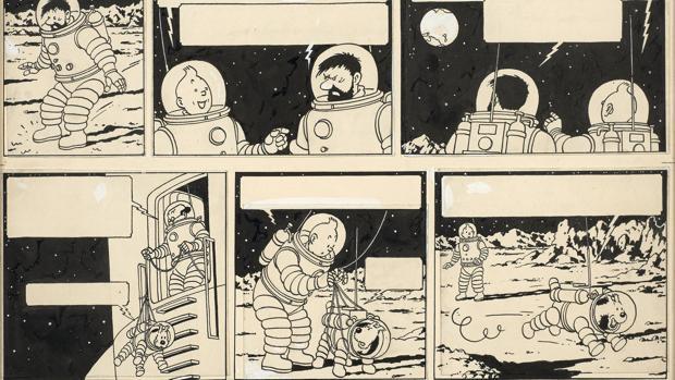 La página del álbum de Tintín «Objetivo Luna» vendida por 1,55 millones de euros