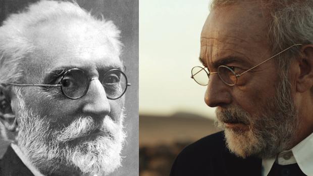 Miguel de Unamuno (izquierda) y José Luis Gómez en la piel del escritor