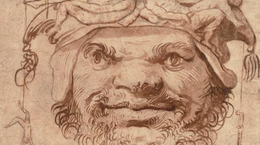 «Cabeza grotesca con figuritas en el sombrero», de Ribera