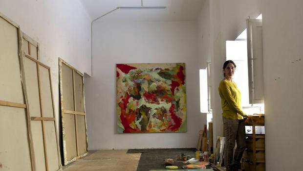 Cristina Rodrigo en una pausa de su trabajo