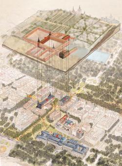 Estrategia urbana e integración del Salón de Reinos en el Campus del Prado