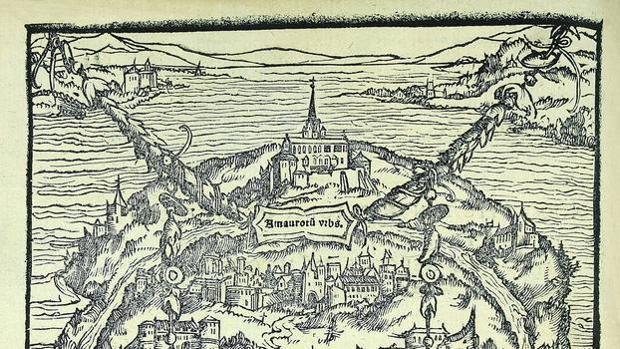 Detalle de la isla de Utopía en un grabado de la edición original de la obra de Tomás Moro (1516)