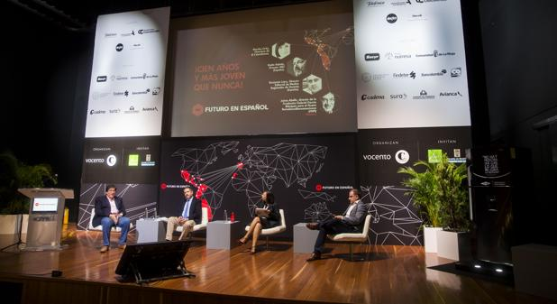 De izquierda a derecha, Jaime Abello, Bieito Rubido, Martha Ortiz y Benjamín Lana, ayer en Medellín