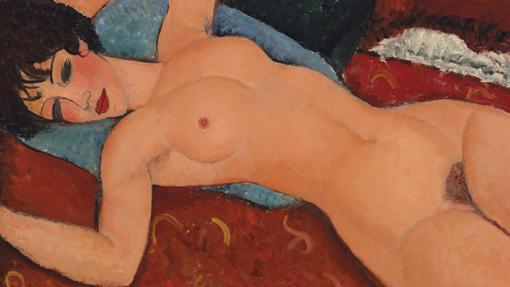 Detalle de «Desnudo acostado», de Amedeo Modigliani