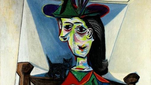 Detalle de «Dora Maar con gato», de Pablo Picasso