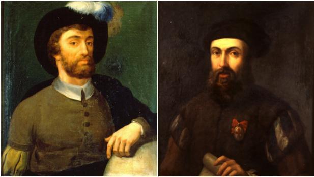 Los navegantes Magallanes y Elcano, que circunnavegaron por primera vez el mundo