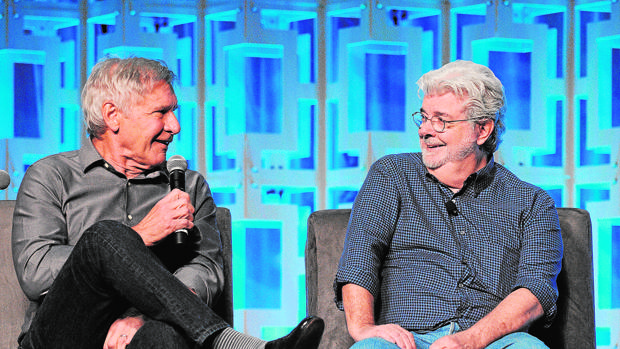 George Lucas y Harrison Ford, en Orlando el pasado mes de abril, en la Star Wars Celebration