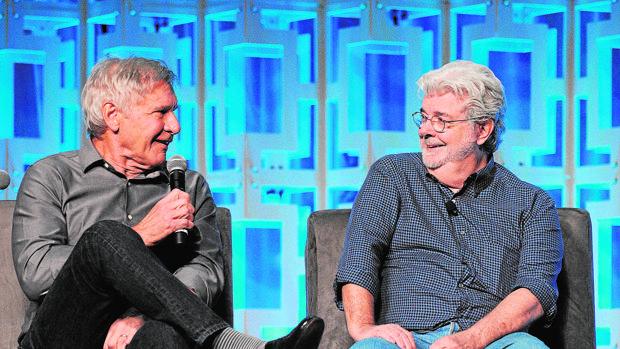 George Lucas y Harrison Ford, en Orlando el pasado mes de abril, en la Star Wars Celebration
