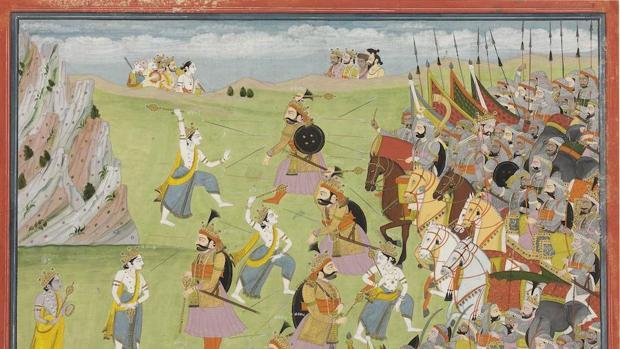 Ilustración del «Mahabharata», batalla de Jarasandha