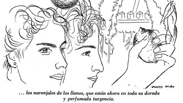 Una de las ilustraciones de Gregorio Prieto para la edición en libro de «La vía del calatraveño»