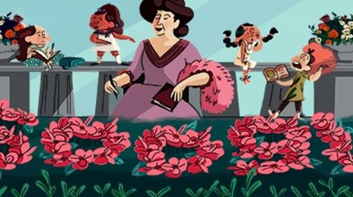 Imagen del 'Doodle' en homenaje a Emilia Pardo Bazán