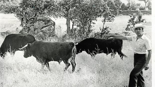 Victorino, en su finca en los años 70