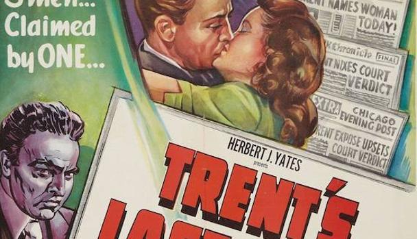 Detalle del cartel de la versión cinematográfica de «El último caso de Philip Trent»
