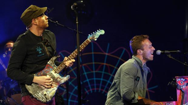 Coldplay, durante su concierto en Madrid en octubre de 2011