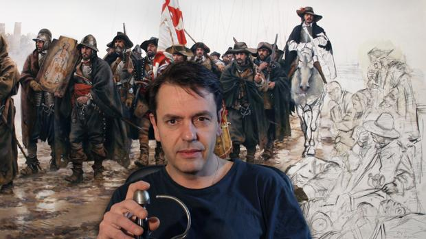 El pintor con uno de sus más afamados cuadros, «El milagro del Empel», que evitó la masacre de los Tercios