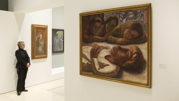 El cuadro «Niña Muerta» de Ángeles Santos, una de las obras que forman parte de la nueva exposición temporal del Museo Picasso de Málaga «Somos plenamente libres. Las mujeres artistas y el surrealismo»