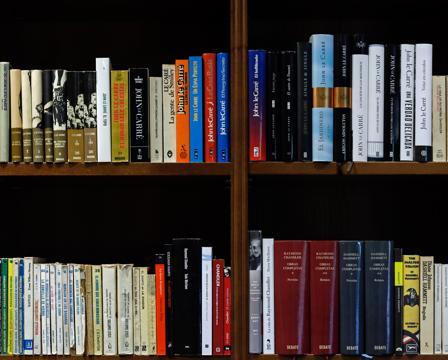 Anaquel de novelas clásicas de espías en la biblioteca de Pérez-Reverte
