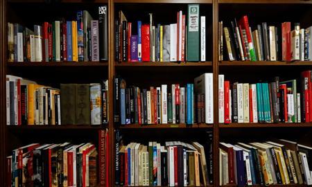 Imagen de la librería en la que Pérez-Reverte pone los libros que está manejando para escribir
