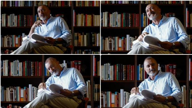 Pérez-Reverte, en su biblioteca con el manuscrito de «Eva» en la mano