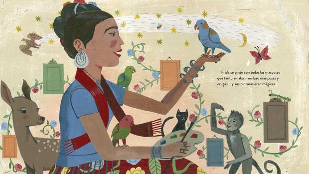 Ilustración de Frida Kahlo y sus animalitos»