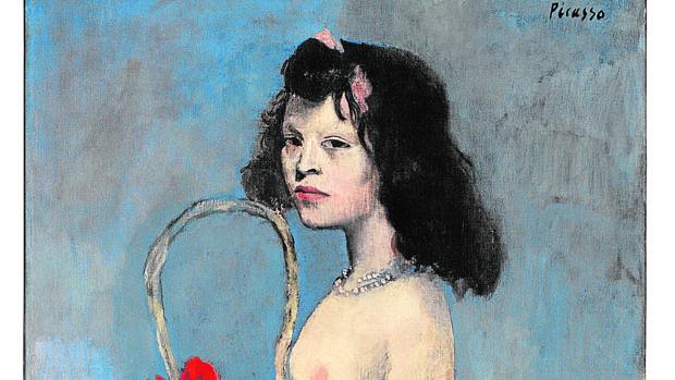 Fragmento de «Muchacha joven con cesto de flores», de Picasso
