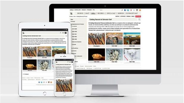 Presentación en distintos dispositivos del Catálogo Razonado de Pinturas