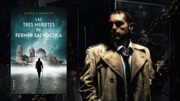 Jesús Cañadas, junto a su novela 'Las tres muertes de Fermín Salvochea'.