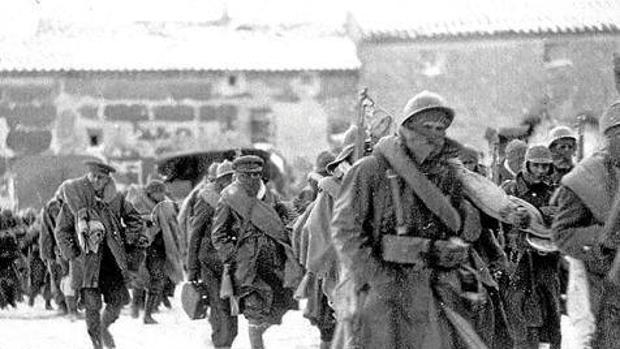 Brigadistas internacionales llegando a Teruel, en cuya batalla tuvieron un papel destacado